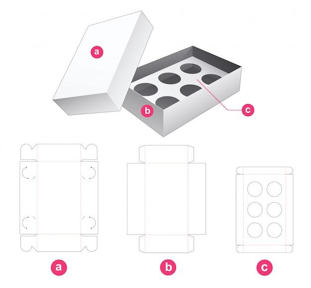 Caixa de cupcakes com suporte de inserção e modelo de corte de tampa
