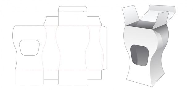 Caixa de curva cosmética com janela modelo cortado