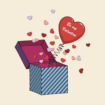 Caixa de desenhos animados com mola e corações.
