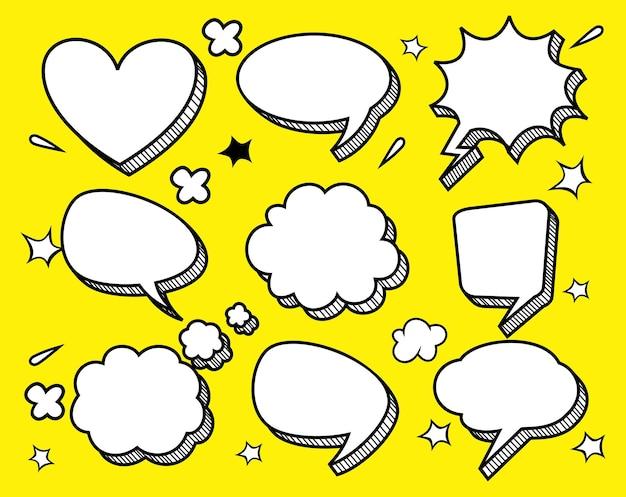 Caixa de diálogo em quadrinhos vazia com conjunto de nuvens