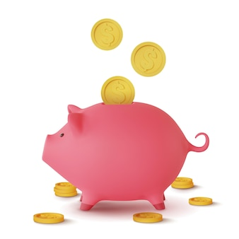 Caixa de dinheiro 3d realista na forma de um porco e moedas caindo isoladas