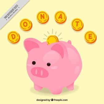 Caixa de dinheiro do leitão com moedas de fundo