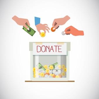 Caixa de doação com a mão
