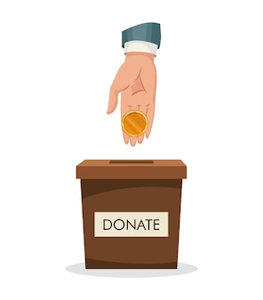 Caixa de doação com desenho de moeda dourada com inserção de mão humana