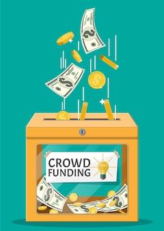 Caixa de doação e ilustração em dinheiro