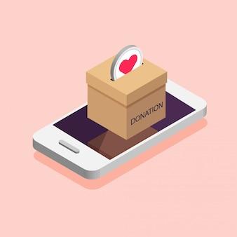 Caixa de doação no telefone. conceito de trabalho de caridade. doe, dando dinheiro online. ilustração em estilo isométrico.