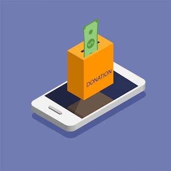 Caixa de doação no telefone. doe, dando dinheiro online. ilustração em estilo isométrico.
