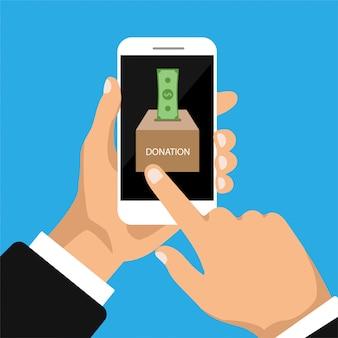 Caixa de doação no telefone. homem doar, dando dinheiro online. ilustração isolada