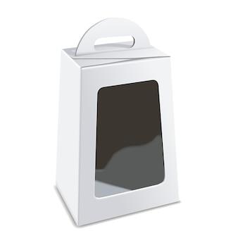 Caixa de embalagem branca em branco com janela de plástico