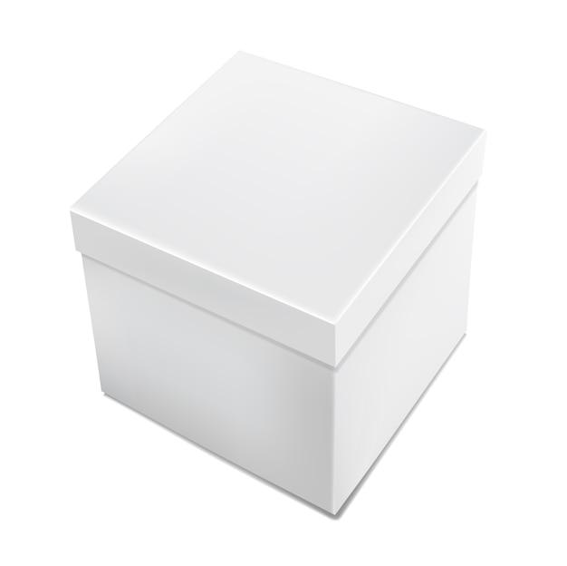 Caixa de embalagem branca realista 3d isolada no fundo