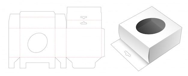 Caixa de embalagem com design de molde recortado para orifício pendurado e janela elíptica