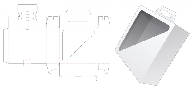 Caixa de embalagem com janela de exibição triangular e modelo de corte e vinco de furo pendurado