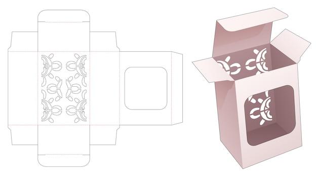 Caixa de embalagem com mandala estampada e modelo recortado para exibição em janela