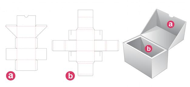 Caixa de embalagem com modelo de corte e suporte de inserção
