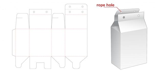 Caixa de embalagem com modelo de corte e vinco de furo de corda