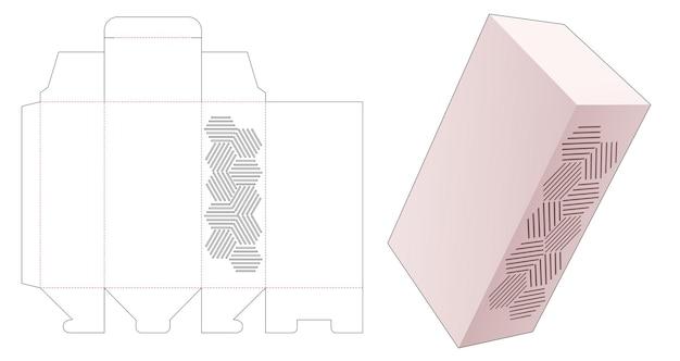 Caixa de embalagem com molde recortado de padrão geométrico estampado
