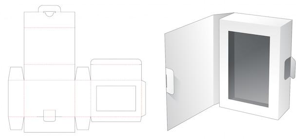 Caixa de embalagem com tampa flip modelo de corte