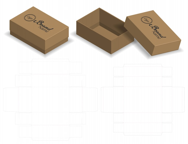 Caixa de embalagem cortada com 3d mock up
