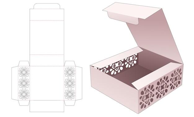 Caixa de embalagem de bolo com molde de estêncil de mandala recortado