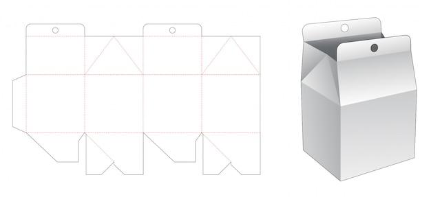 Caixa de embalagem de casa com modelo de corte e vinco de furo pendurado