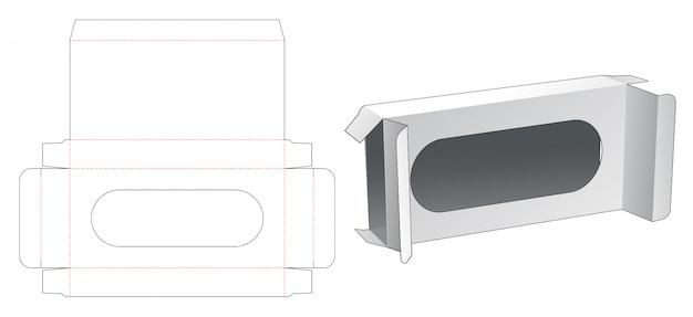 Caixa de embalagem de lata com janela modelo cortado
