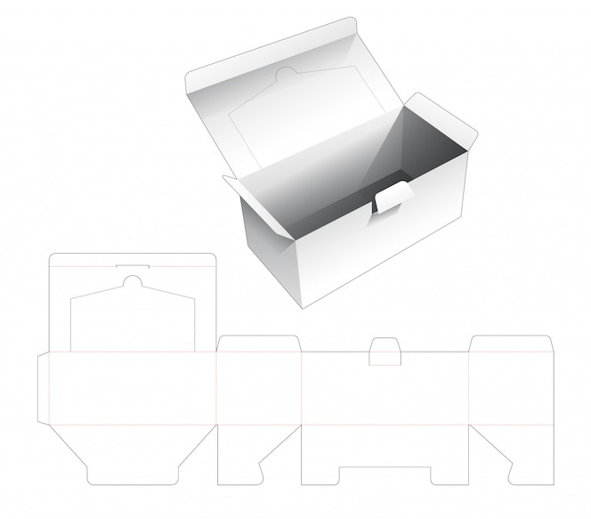Caixa de embalagem de papelão e modelo com zíper aberto