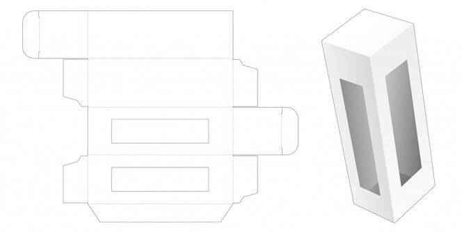 Caixa de embalagem de varejo com modelo de janela cortada