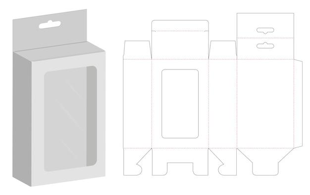 Caixa de embalagem die cut modelo 3d mockup