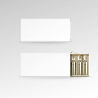 Caixa de embalagem em branco de vetor para ampolas isolado no branco