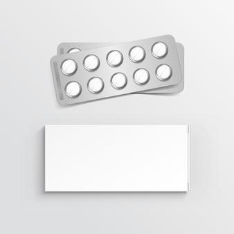 Caixa de embalagem em branco para blister de comprimidos
