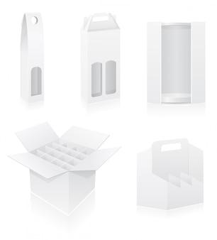 Caixa de embalagem em branco para garrafa definir ilustração vetorial