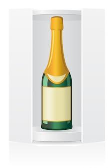 Caixa de embalagem em branco para ilustração vetorial de garrafa