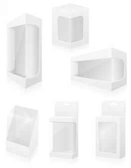 Caixa de embalagem em branco transparente definir ilustração vetorial