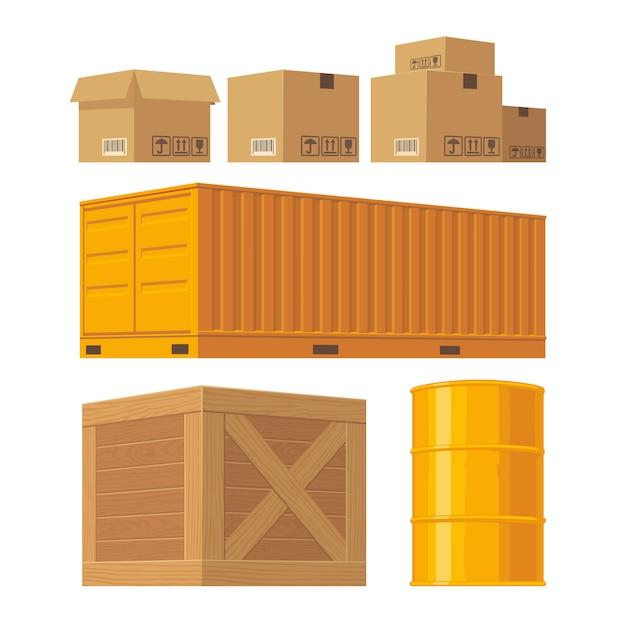 Caixa de embalagem marrom, palete, recipiente amarelo, caixas de madeira, barril de metal isolado no fundo branco com sinais de atenção frágil.