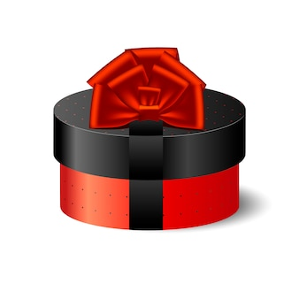 Caixa de embalagem redonda 3d vermelha e preta com laço