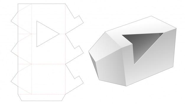 Caixa de embalagem triangular com modelo de janela cortada em triângulo