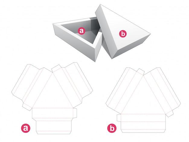 Caixa de embalagem triangular e tampa modelo cortado
