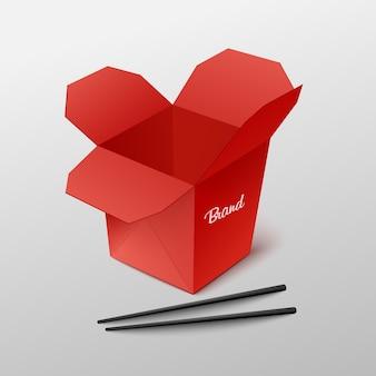 Caixa de embalagem vermelha em branco para comida em restaurante chinês para viagem