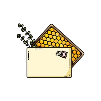 Caixa de encomendas com mel e ervas orgânicas