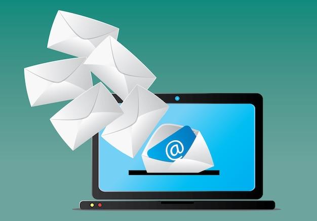 Caixa de entrada de e-mail no computador