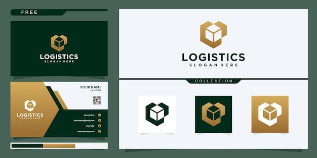 Caixa de entrega com seta do logotipo. estilo de linha colorida