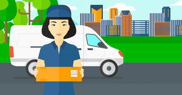 Caixa de entrega de mulher