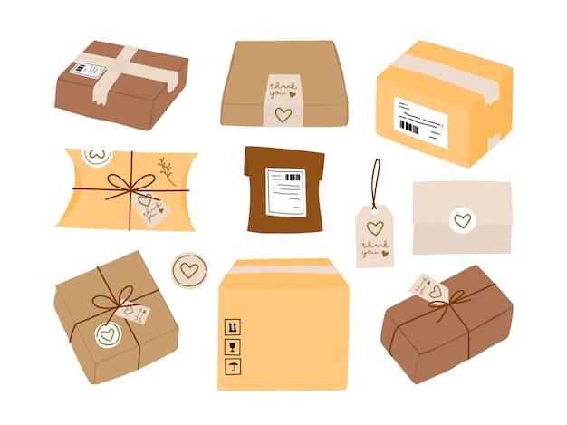 Caixa de entrega de pacotes e embalagem de presente ecológica com etiqueta adesiva e coleção de cartão de agradecimento.
