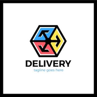 Caixa de entrega três seta logotipo. estilo colorido.