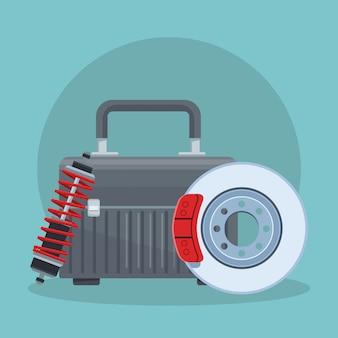Caixa de ferramentas com disco de freio e amortecedor