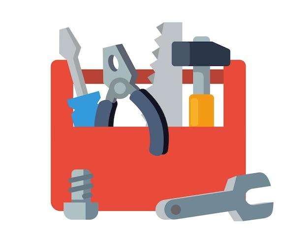 Caixa de ferramentas de madeira com cabo cheio de ferramentas.