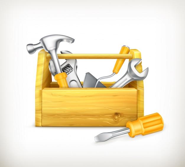 Caixa de ferramentas de madeira com ferramentas, martelo, chave de fenda. ilustração 3d