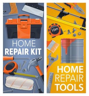 Caixa de ferramentas, fita métrica e martelo, cortador de azulejos, rolo de pincel e chave de boca, prego, parafuso e parafuso, espátula