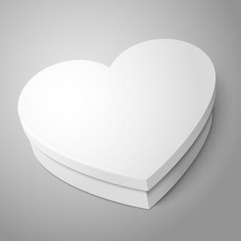 Caixa de forma de coração branco em branco realista de vetor isolada em fundo cinza dia dos namorados