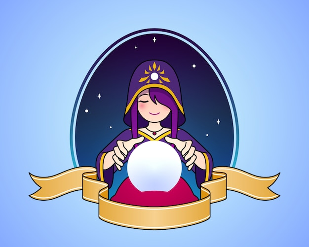 Caixa de fortuna da mulher com ilustração bonito do símbolo dos desenhos animados da bola de cristal.